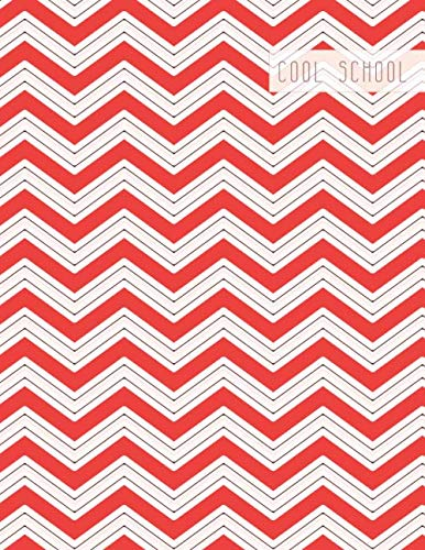 Cool School: Large College Ruled Notebook for Homework School or Work Red and White Chevron Pattern