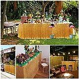 Hawaii Tischröcke, Tatuer Vintage Hawaii Deko Party Tischdecke Hawaii Luau Tischdeko Partyartikel mit Blumen für DIY Party Dekoration Geburtstage Hausgemachtes Kostüm Rock Festival(Gold) - 3