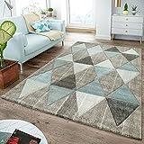 T&T Design Moderner Teppich Wohnzimmer Skandinavisch Rautenmuster Pastell Beige Blau, Größe:80x300 cm