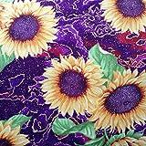 Stoff mit Sonnenblumen, 112 cm x 1 m, Violett 100%
