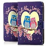 Saxonia Tablettasche Case Universal Tablet Tasche mit Motiv für Medion / Asus / Acer Verliebte Eulen (Owl Always Love You)