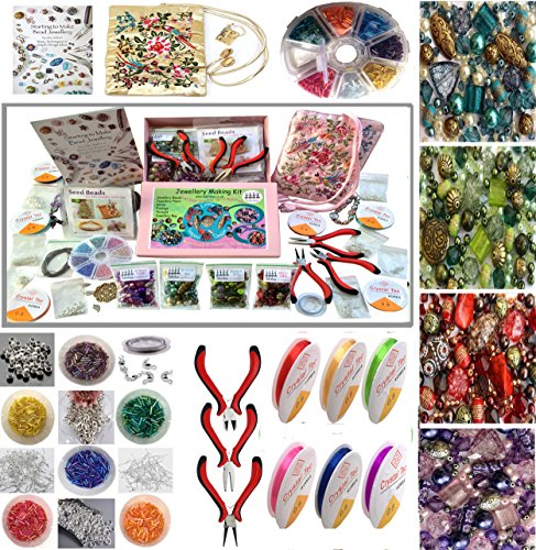 Jewellery Making Beads Mix Pliers Findings Starter Kit Gift Set