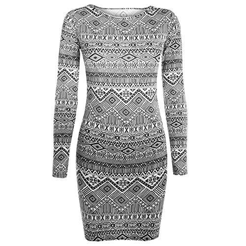 Oops Outlet Damen Langarmshirt bedruckt, Slim Fit, Stretch, Bodycon-Minikleid - Aztec Monochrome 2 - Tunic Tribal Jersey Dress