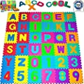 Honel Number Puzzle Mat Letters Foam Puzzle Square Floor Mat Baby Toddlers Kids Toys Flooring Mat 36pcs 6.89inch*5.31inch - low-cost UK light store.