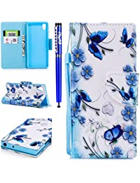 EUWLY Leather Wallet Case for Sony Xperia XA1,Ultra Thin Colorful Butterfly Flower Tree Animal Embossed Pu Leather Case Cover with Hand Strap for Sony Xperia XA1 + 1 x Stylus Pen - Butterfly