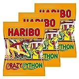 Haribo Crazy Python, 3er Pack, Gummibärchen, Weingummi, Fruchtgummi, Im Beutel, Tüte