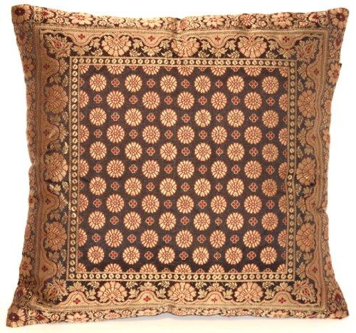 Indische Seide Deko Kissenbezüge 40 cm x 40 cm (Schwarz), Extravaganten Design für Sofa & Bett Dekokissen, Kissenhülle aus Indien. ***Angebot nur für kurze Zeit gültig***