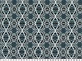 ab 1m: Baumwoll-Flanell, Rauten mit Blumen, blau-grau,