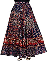 jwf Women's Cotton Regular Fit Leheriya Printed Long Skirt (SK_241, Multicolour, Free Size)