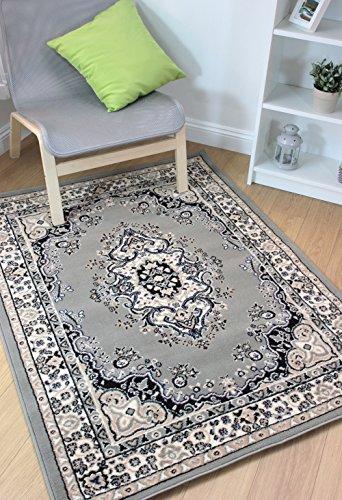 Tappeto in classico stile orientale, colore grigio e argento, in varie misure, 100% polipropilene/polipropilene, grey, 160x220cm (5'3''x7'3'')