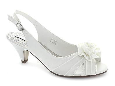 Occasion Footwear ENYA Ladies Satin Wedding Shoes Ivory UK 5 Amazoncouk Bags