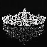 Diadema de corona para boda, fiesta, cumpleaños, novia, princesa, cristal, estrás, graduación, color plateado