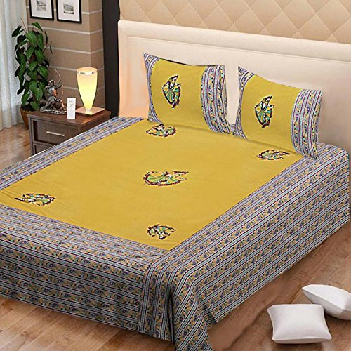 Kuber Industries Embroidery Design 144 TC Cotton Double Bedsheet with 2 Pillow Covers - King Size, Green