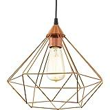 EGLO lampe pendante Tarbes, 1 flamme lampe pendante vintage en look rétro, matériel : acier, plastique, couleur : cuivre, noi