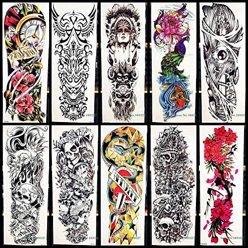 Adesivo per tatuaggi temporanei grande braccio completo adesivo per tatuaggi temporanei guerriero tribale pavone serpente spada body art impermeabile adesivo per tatuaggi flash finto