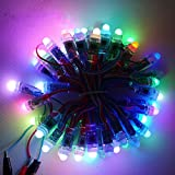 ALITOVE DC 5V WS2811 Led Pixel 12mm Diffused Digital RGB 50pcs Per String Addressable Dream Color Round LED Pixels Module IP68 for Outdoor, Indoor, Gardens, Homes, Wedding, Christmas Party, decorative