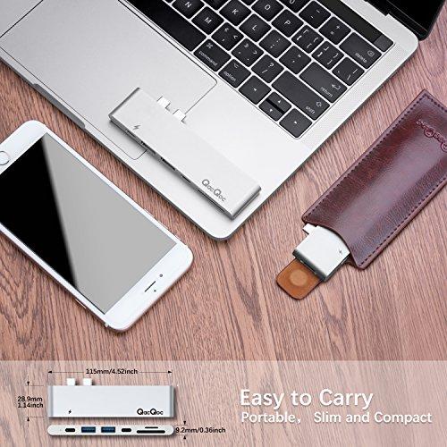 USB C Hub EgoIggo MacBook Pro Hub Thunderbolt 3 Dock Aluminium Plug&Play geeignet für neuste MacBook Pro 2016 2017 mit Thunderbolt 3 Port (Pass-Through Aufladen), USB-C Schnittstelle (Datenübertragung), 4K HDMI Anschluss, SD/Micro-SD Kartenleser und 2 USB 3.0 Ports (Silber)