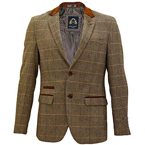 Uomo Marc Darcy Vintage Tweed A Scacchi Giacca Blazer - DX7 Marroncino (46 - 116cm)