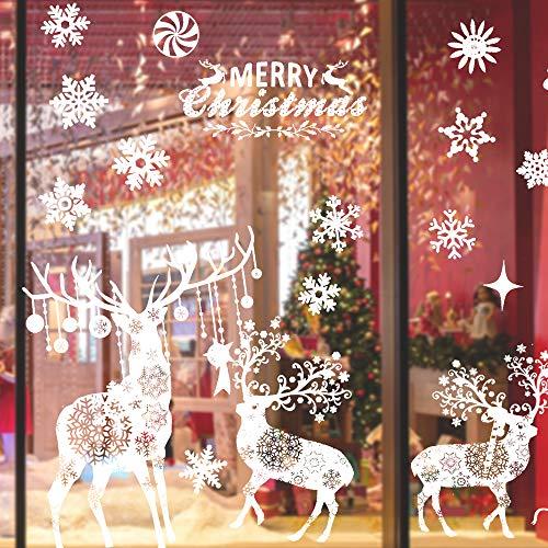 CENOVE Fensterbilder Weihnachten, Elch Fensterbilder PVC Selbstklebend Weihnachtsdeko Fensterdeko Wiederverwendbar Weihnachtsdekoration