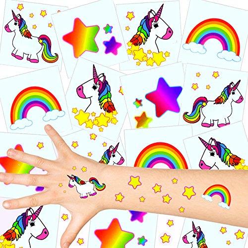 German Trendseller - 12 x Tatuajes temporales Unicornio ┃Fiesta Unicornio┃los Colores del Arco Iris┃ Fiestas Infantiles┃ Idea de Regalo┃piñata┃cumpleaños de niños┃ 12 Unidades...