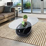 Homcom - Tavolino Salotto Design Moderno Tavolino da Caffè in Vetro Temperato 110 x 60 x 42cm immagine
