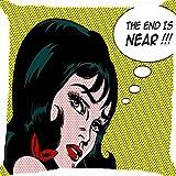 Housse de coussin Couvre-lit Taie d'oreiller 45,7cm Pop Art Comic girl lèvres rouges ruban Robe Cloud Cute les deux côtés d'image Fermeture Éclair