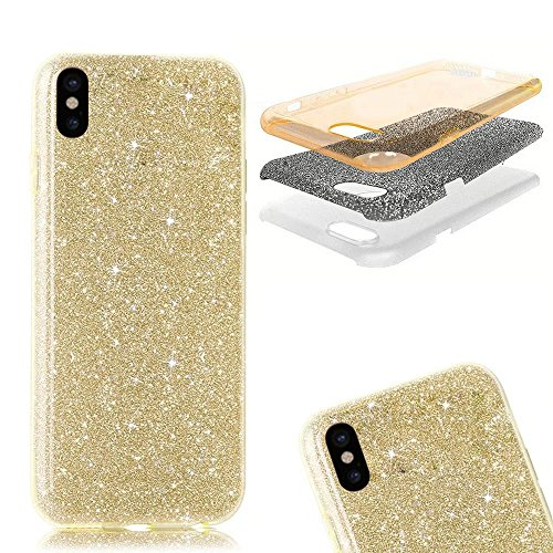 QianYang Transparente Coque pour iPhone X TPU Silicone Etui iPhone X Ultra Slim Soft Flexible TPU Bumper Protective Case Cover pour iPhone X Souple Coque avec Bling Diamant Crystal Strass TPU Bumper H Bing Souple-All Or