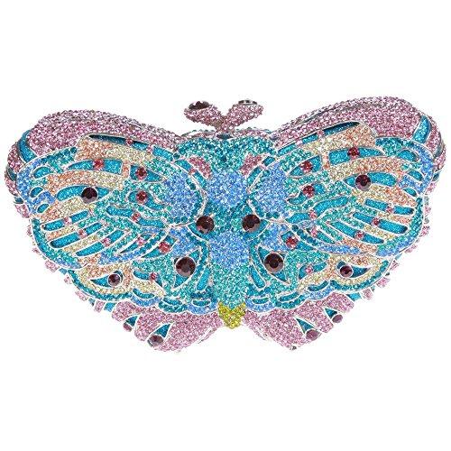 Damen Clutch Abendtasche Handtasche Geldbörse Glitzertasche Strass Kristall Schöne Schmetterling Tasche mit wechselbare Trageketten von Santimon(16 Kolorit) Violett