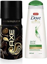 AXE Dark Temptation Deodorant, 150ml & Dove Hair Fall Rescue Shampoo, 340ml