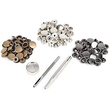 50x bouton pression métal argenté bronzé 10mm avec outil pour cuir ... 7a1a2169137