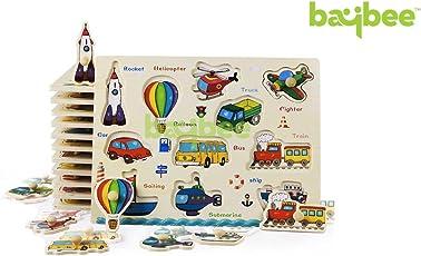 Baybee Premium Cartoon Vehicles - Montessori Wooden Puzzle / Educational Toy for Children B