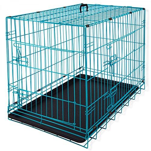 Lovpet® Hundetransportbox Hundebox Transportbox Hundekäfig Bunt ✓ Mit Front- und Seitentür ✓ Robustes Metall ✓ Herausnehmbare Bodenwanne | Gitterbox für Zuhause & auf Reisen | Optischer Hingucker | Praktische Tragegriffe, Farbe:Türkis, Größe:L