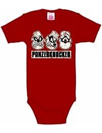 LOGOSHIRT - Panzerknacker Baby-Body Kurzarm Junge - Disney Baby Strampler - rot - Lizenziertes Originaldesign