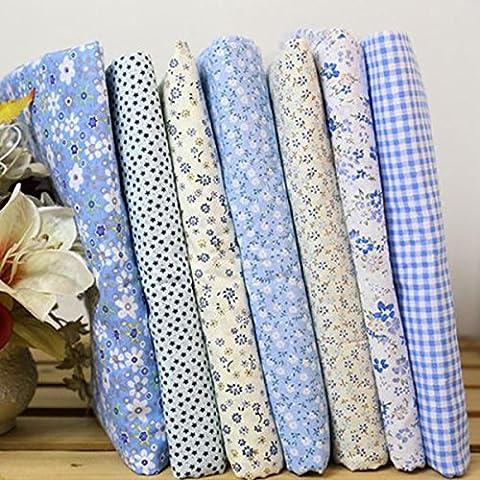7pcs Square Floral Cotton Material Nähen Handwerk Patchwork Tuch 25 x 25cm (Blau)