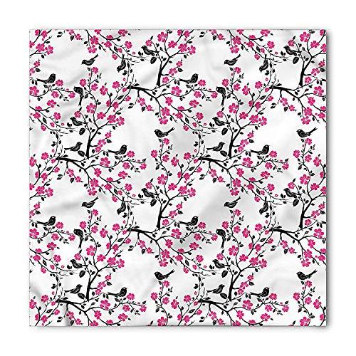 MSGDF Cherry Blossom Bandana, Sakura Tree Bird, Unisex Bandana Head and Neck Tie Neckerchief Headdress Silk-Like 100% Polyester -
