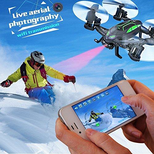 Drone Con Cámara 2MP FPV Air Ground RC Quadcopter Por Tierra & Aire Doble Modo Drone Coche Teledirigido De Control Remoto 2 4 GHz 6 Axis Gyro 2 baterías de Rolytoy Regalo para Jóvenes Niños Fiestas