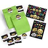 12-er Set Einladungskarten, Umschläge, Tüten / grün, Aufkleber Kindergeburtstag Mädchen Jungen Jungs Geburtstagseinladungen Einladungen Geburtstag Kinder Kartenset