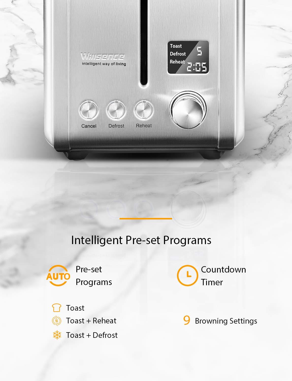 2-Scheiben-Toaster-Toaster-Edelstahl-von-Willsence-mit-Extra-Breite-Steckpltze-LCD-Bildschirm-Countdown-Anzeige-mit-9-Brunungssteuerung-und-Voreingestellten-Programmen-920W