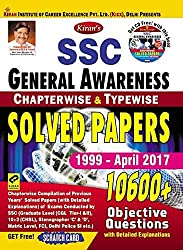 Kiran's SSC General Awareness Chapterwise & Typewise Solved Papers 1999 - April 2017 - English Get Free CD & Scratch Card - 1912