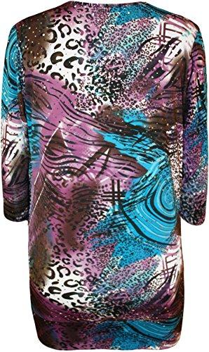 WearAll - Taille Plus Imprimer col bénitier manches courtes Insérer Top - Hauts - Femmes - Tailles 42 à 56 Turquoise