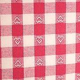 Stoff Meterware, Karo 1x1 cm Herzen Pink Weiß, Baumwolle,
