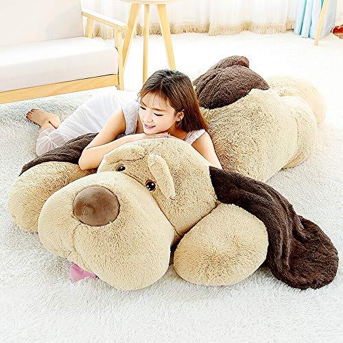 DOLDOA Riesen Plüschhund 130cm Groß Plüsch Hund Plüsch Kuscheltier Liegend Braun