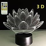 ATD® Blooming Lotus 3D Stereo Vision Effekt bunte Farbverläufe Touch Taste 15 Tasten Fernbedienung LED Tabellen Lampen Nachtlicht