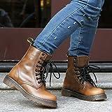 &zhou weibliche Herbst/Winter Stiefel warme Lederstiefel Martin Gezeiten Boot Mode Freizeit Anti-Rutsch Retro , brown , 36