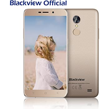 Günstiges Smartphone, Blackview A10 2GB RAM + ROM 16GB Dual Sim Handy 5.0 Zoll HD IPS Touch Display Andorid Smartphone, 5MP + 8MP Cameras Android 7.0 mit 2800 mAh Battery, Fingerabdruck Handy-Gold