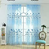 Tomtopp 1pc Offset Printing Sheer Curtain Yarn Tulle Window Screen Voile Panel (Blue)