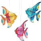 Toyvian Decorazioni Decorative per Feste in Carta con Pesci Tropicali appese Ornamento - 12 Pezzi (Oro + Rosa + Blu)