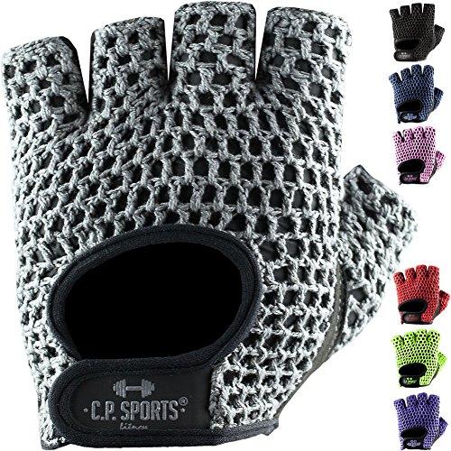 C.P.Sports Fitness Handschuh Klassik in vielen Farben, Fitnesshandschuhe, Trainingshandschuhe, Bodybulding Handschuhe für Fitness Training F3 (M, Silber/Grau)