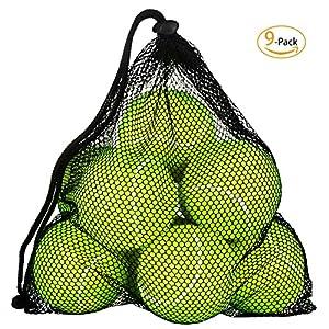 OMorc 9 Pack Tennisbälle, professionelle tennisbälle mit Tragetasche für Sport, Tranning Tennisbäll