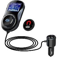"""Transmetteur FM Bluetooth Kit de Voiture Mains Libres Sans Fil Adaptateur Radio, Chargeur Voiture Dual USB 5V/1A&2.4A Grand Écran LED 1,4"""" Support Carte TF Base Magnétique"""